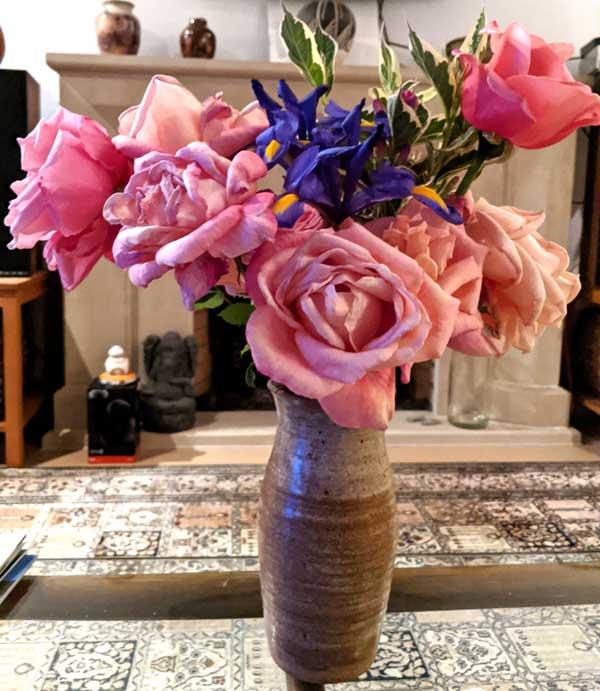 pink roses blue iris